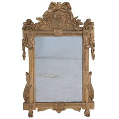 French 18th Century Carved and Giltwood Mirror