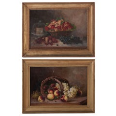 French 19th Century Pair of Still Life Oil Paintings By Menne