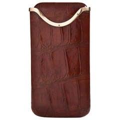 Superb Crocodile Leather & 9ct Gold Cigar Case by Asprey & Co. London 1926