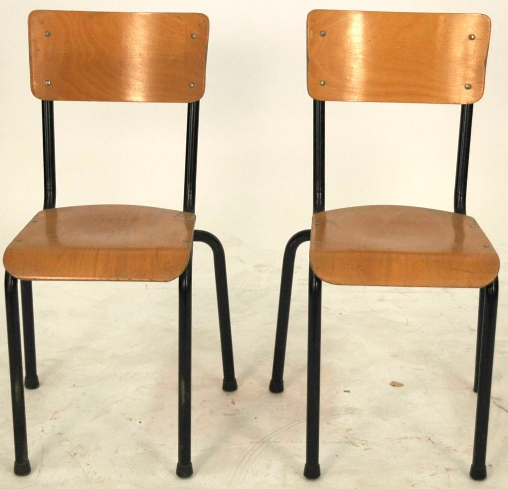 20th C. French School House Chairs 3