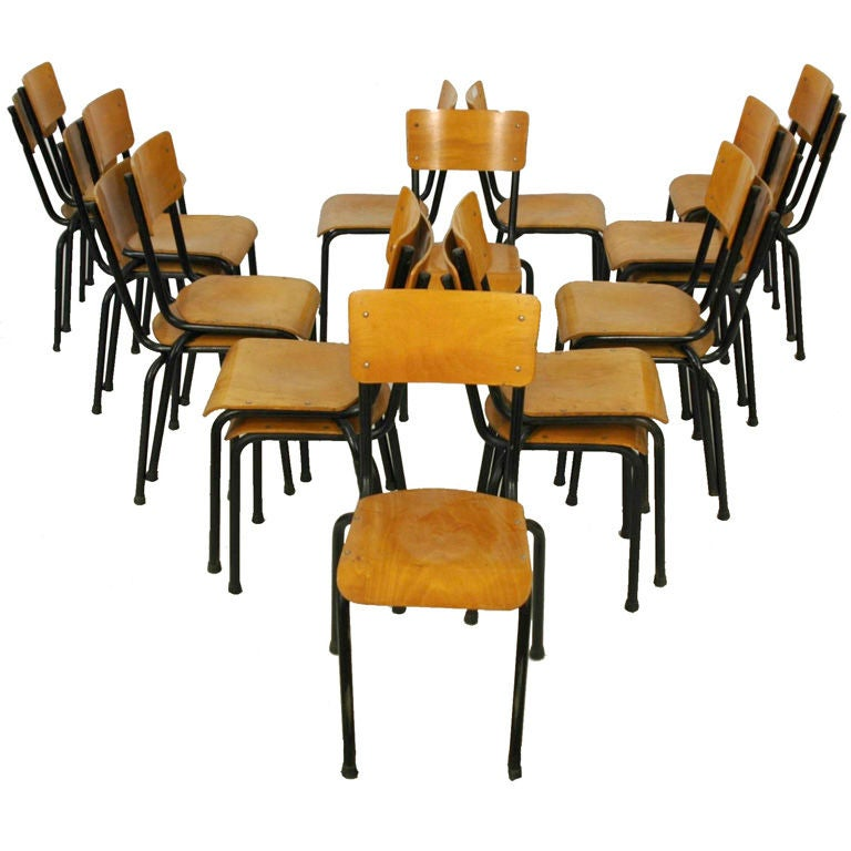 20th C French School House Chairs At 1stdibs