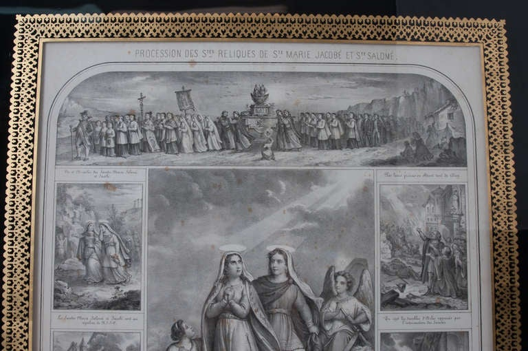 A beautiful lithograph telling such a wonderful story, all in black and white with gold gilt framing and gilt decorations. 'In Camargue , between the Rhone River and Mediterranean Sea is a village legend and religious tradition transformed into a