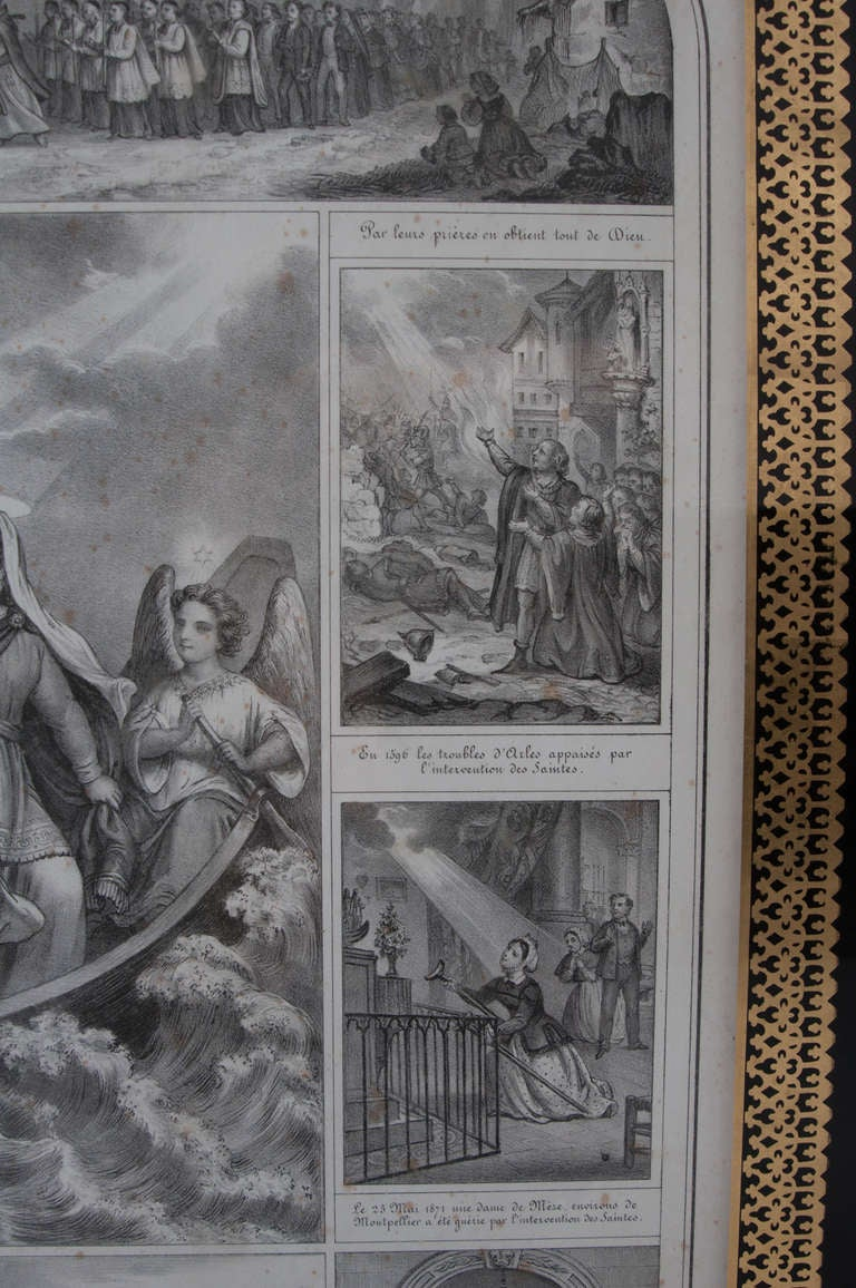 French 19th Century Lithograph of The Procession of The Holy Relics In Good Condition For Sale In Baton Rouge, LA