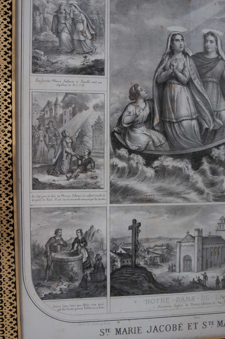 French 19th Century Lithograph of The Procession of The Holy Relics For Sale 3
