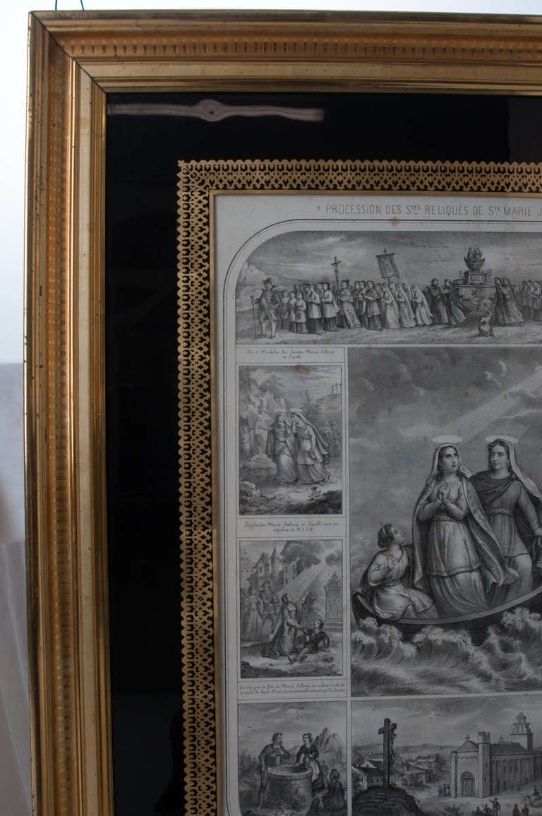 French 19th Century Lithograph of The Procession of The Holy Relics For Sale 2
