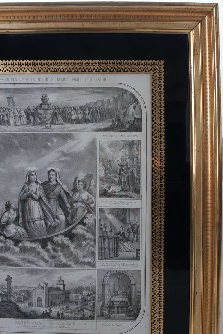 Gilt French 19th Century Lithograph of The Procession of The Holy Relics For Sale