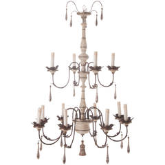 Italian Reproduction Painted 12 Light Chandelier