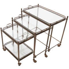 French Vintage Set of 3 Nesting Tray Tables