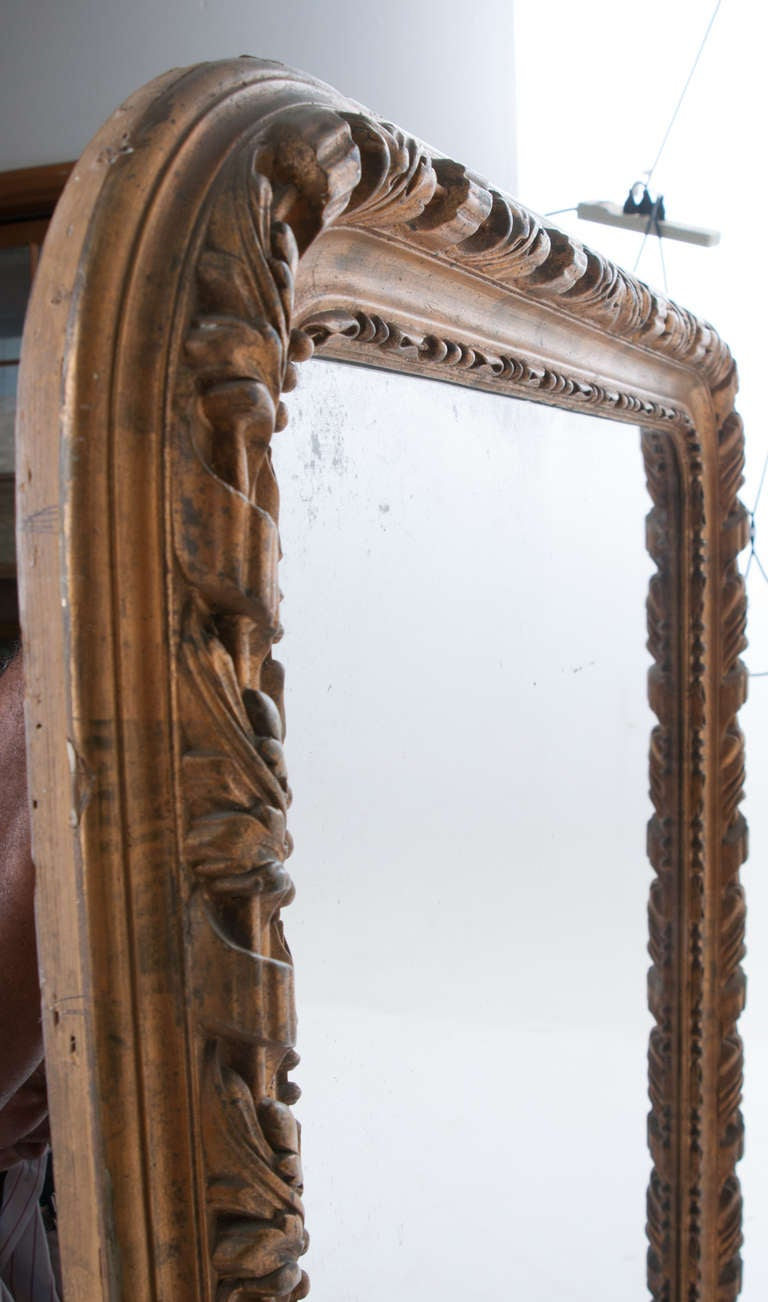 French 19th Century Louis Philippe Gold Gilt Mirror For Sale 1