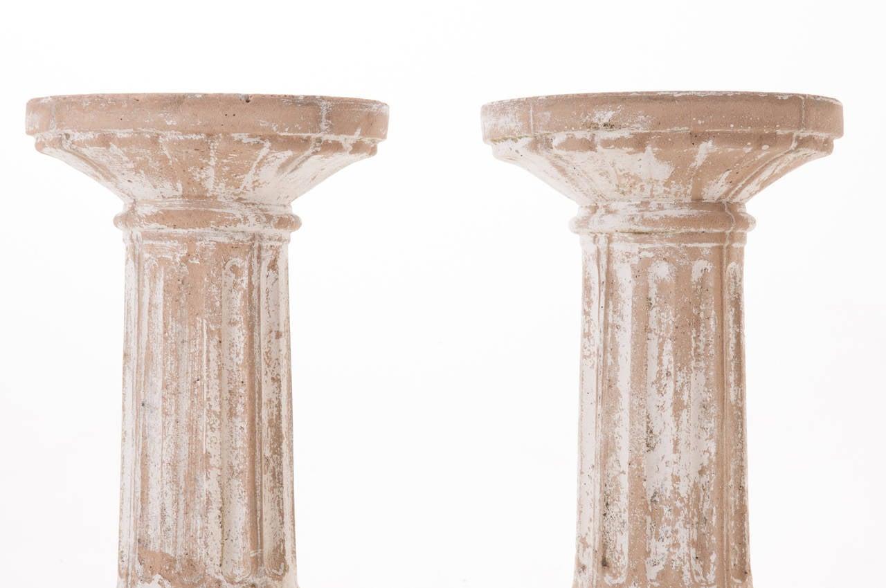 Painted Stone Pillars : European pair of s painted stone pillars at stdibs