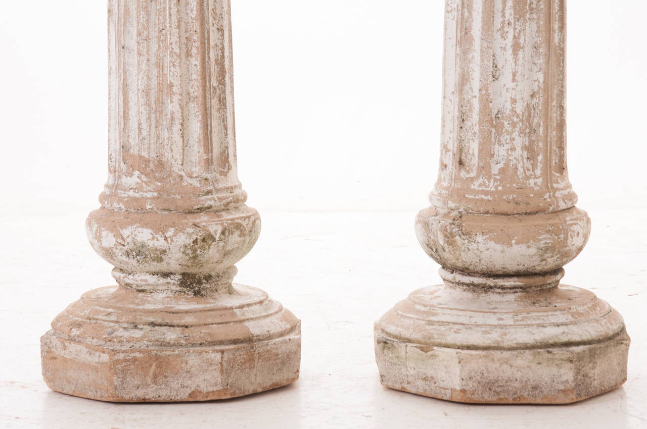 Painted Stone Pillars : European pair of s painted stone pillars at stdibs