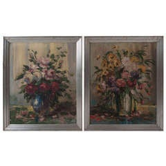 French 19th Century Floral Still Life Painting in Silver Gilt Frames