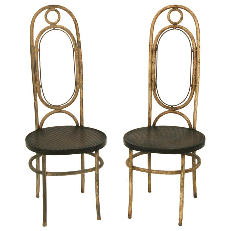 Pair Of 20th C Painted Metal Chairs At 1stdibs