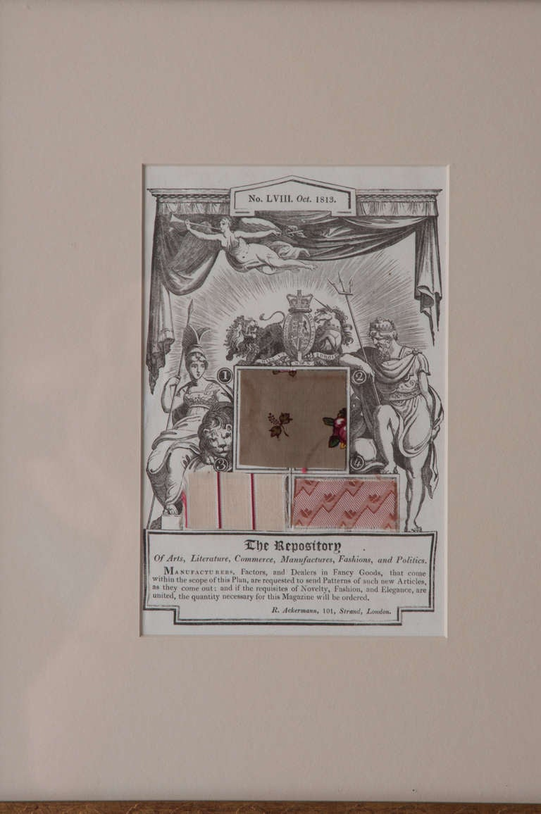 English set of four prints/original pages from the Repository of Arts & Science Magazine   NO. LX. Dec. 1813. NO. LVIII. Oct. 1813. NO. LIV. June, 1813. NO. LIX. Nov. 1813. The Repository of Art & Science is a magazine that held the high status of