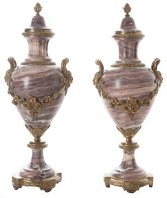 French 19th Century Pair of Purple Marble & Bronze Cassolettes