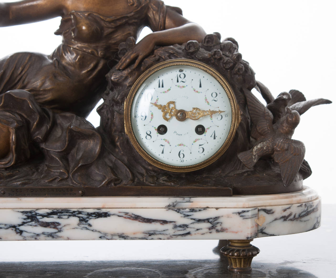 French Metal And Marble Mantle Clock By F Moreau Quot Les