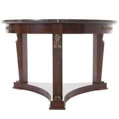 French 1920s Empire Style Marble-Top Center Table