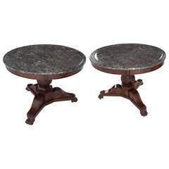 French Pair of 19th Century Regency Rosewood & Marble Center Tables