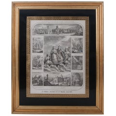 French 19th Century Lithograph of The Procession of The Holy Relics