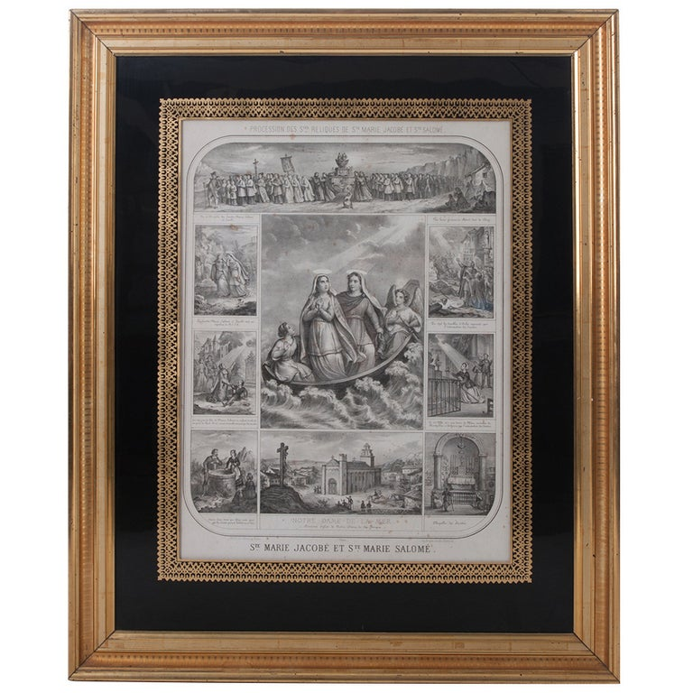 French 19th Century Lithograph of The Procession of The Holy Relics For Sale