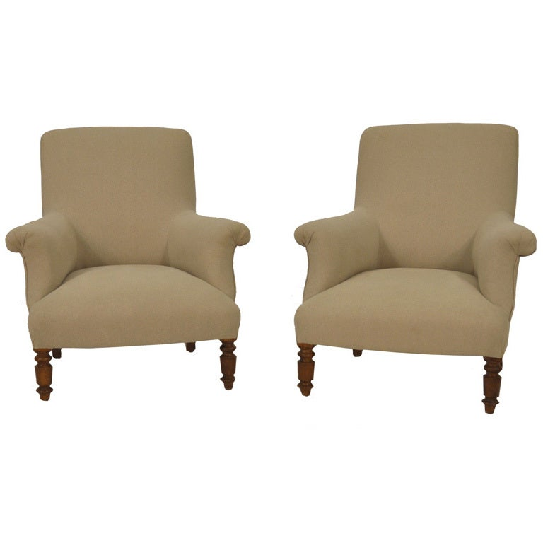French 20th Century Pair Of Club Chairs At 1stdibs