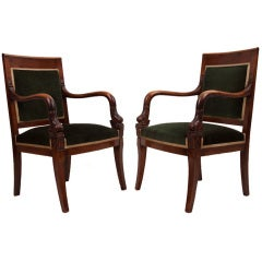 Pair of French Empire 19th Century Fauteuils