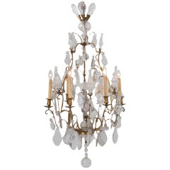 French Louis XVI Style 19th Century Brass and Crystal Chandelier