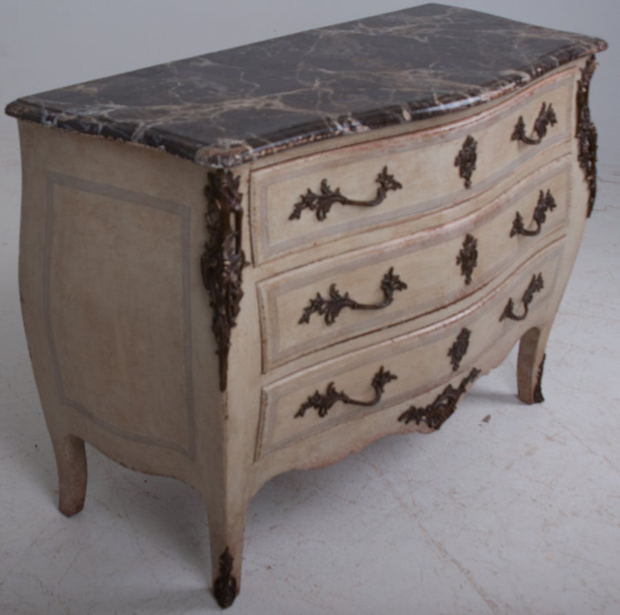 French 19th Century Painted Bombe Commode 2
