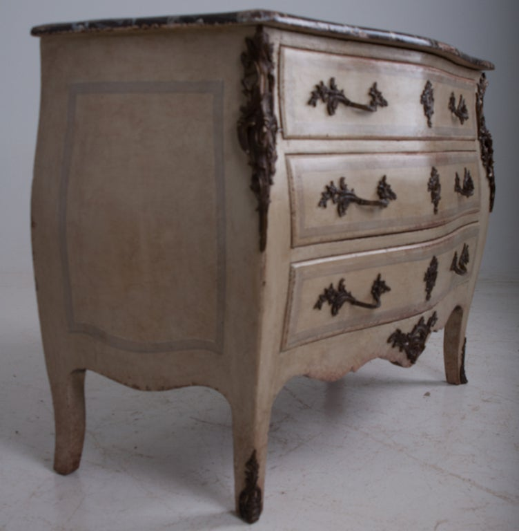 French 19th Century Painted Bombe Commode 3