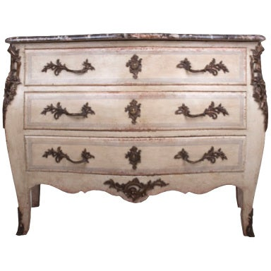 French 19th Century Painted Bombe Commode