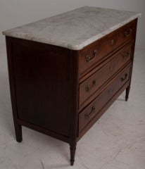 French 19th Century Walnut & Marble Top Commode image 2