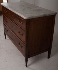 French 19th Century Walnut & Marble Top Commode image 3