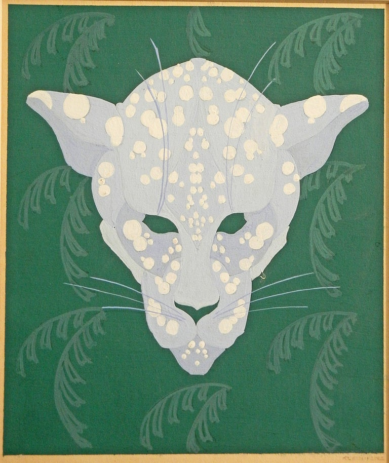 This striking painting presents a fantastical leopard in a shade of periwinkle superimposed over a brilliant backdrop of stylized palm fronds in a vivid shade of green. The colors are as fresh as they day they were painted, in the late 1920s or