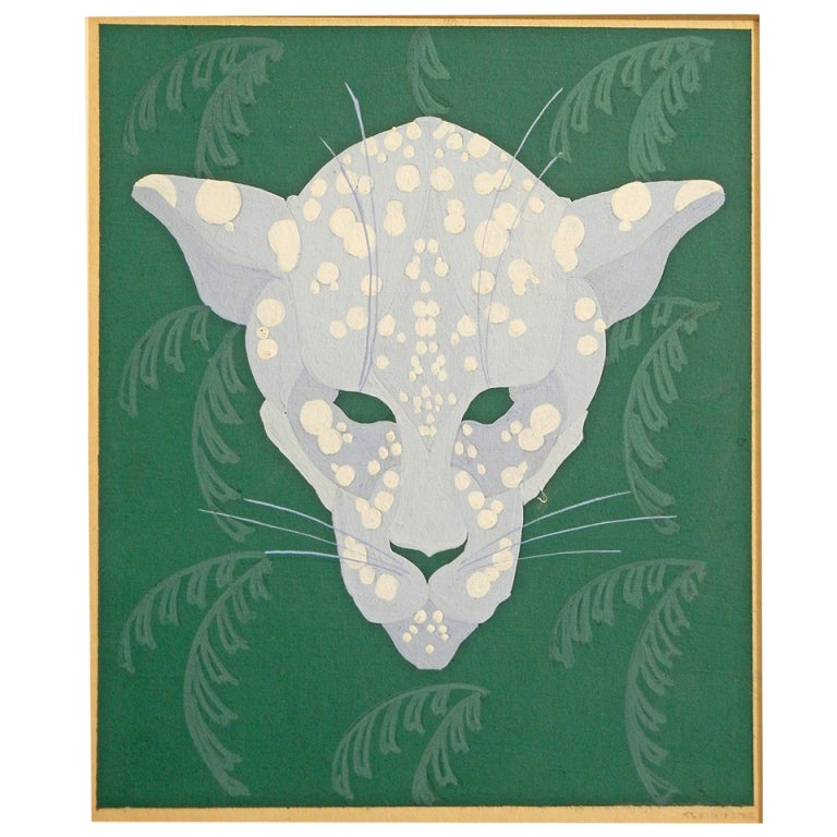 """Spotted Leopard,"" Art Deco Painting in Green and Periwinkle by Kleinhenz For Sale"