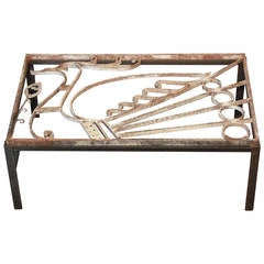 Modern Coffee Table Inset with 1930s Art Deco Grille with Peacock Motif