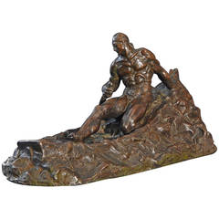 """Man Against Sea,"" Highly Rare Art Deco Bronze Sculpture by Antonio de Filippo"