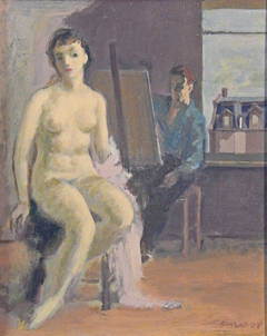 """Artist and Nude Model"" Painting by Adolf Konrad, 1952"