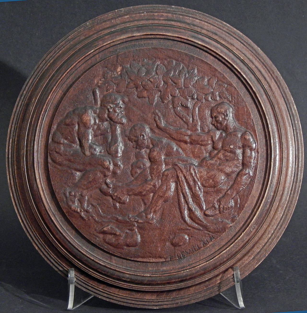 This very fine carved relief panel was sculpted by Ferdinand Levillain, France's master of bas relief at the turn of the last century. Levillain was famous for his low reliefs in medallic work and finely-detailed bronze objects (most cast by the