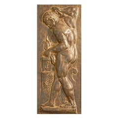 """Vulcan and Chronos,"" Rare Gilded Iron Panels with Nude Males"