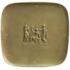 """""""Nudes at the Bath,"""" Rare Art Deco Bronze Dish"""