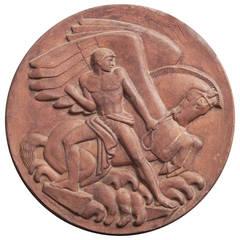 """Bellerophon Taming Pegasus,"" Important Relief Panel by Paul Manship, 1934"