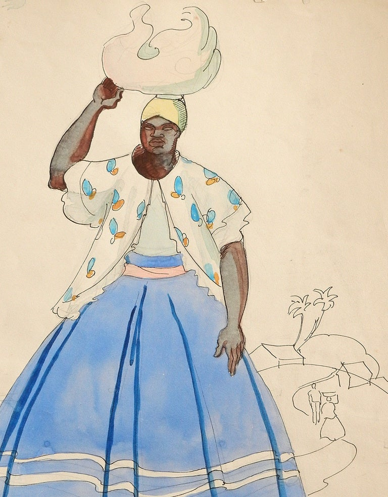 Drawn and painted with his usual skill and vivacity, this watercolor by Robert Lee Eskridge captures the native costume of a Brazilian woman in 1942.  Eskridge is best known for a series of paintings and prints depicting the native men of Hawaii,