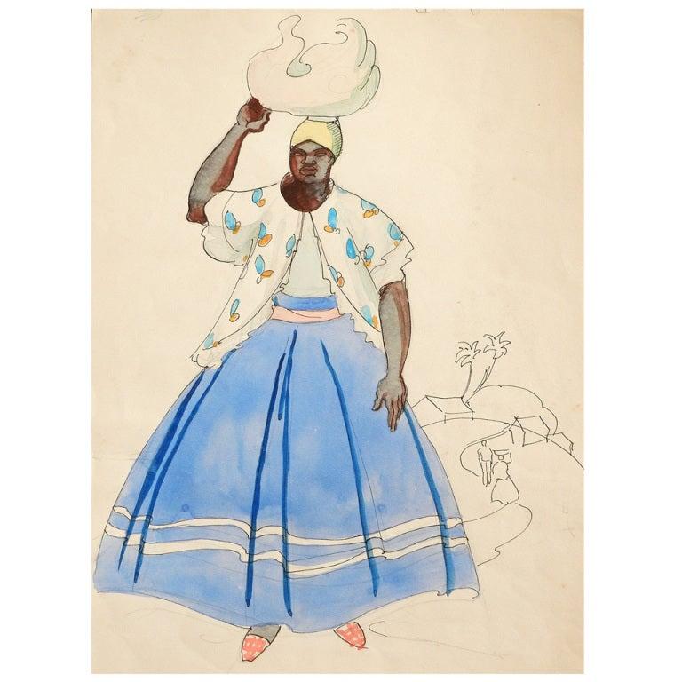 """Brazilian with Blue Skirt,"" Watercolor by Robert Lee Eskridge"