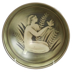 """Nude with Dove,"" Rare Art Deco Bowl by Nylund for Rorstrand"