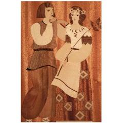 """Couple in Folk Costume,"" Art Deco Panel w/ Wood Inlay, USSR"