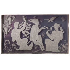 """""""Cocktails on Mount Olympus,"""" Extraordinary Cast/Etched Art Deco Glass Panel"""
