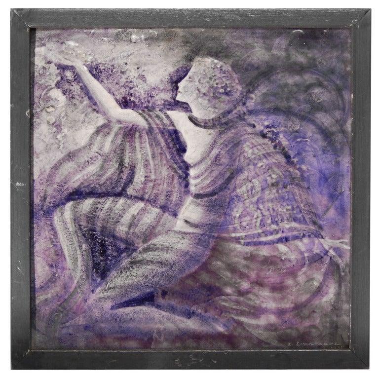"""Modern Dancer,"" Very Fine, Unique Art Deco Tile by Simonaky"