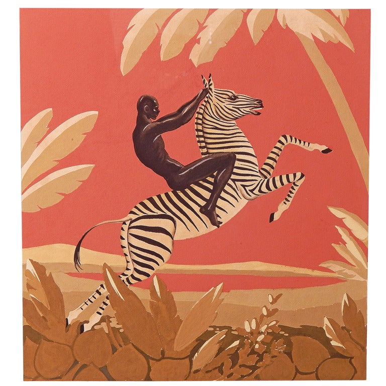 """African Nude Riding Zebra,"" Brilliant Art Deco Painting, Gouache 1"
