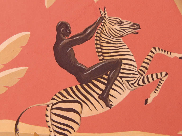 """African Nude Riding Zebra,"" Brilliant Art Deco Painting, Gouache 2"