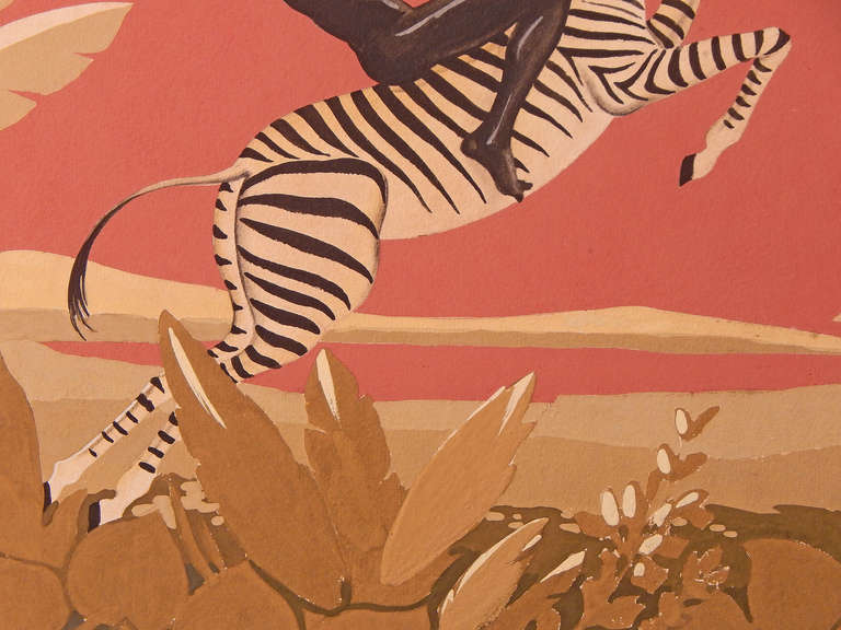 """African Nude Riding Zebra,"" Brilliant Art Deco Painting, Gouache 3"